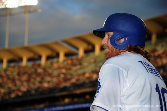 Justin Turner during sunset during game against the Cincinnati Reds Wednesday, May 25, 2016 at Dodger Stadium in Los Angeles,California. Photo by Jon SooHoo