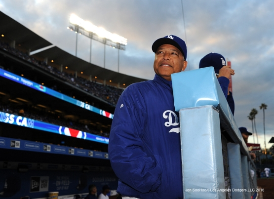 Dave Roberts during game against the Cincinnati Reds Wednesday, May 25, 2016 at Dodger Stadium in Los Angeles,California. Photo by Jon SooHoo