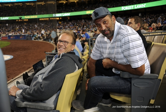 Ex Lakers Kurt Rambis and Vlade Divac watch the game against the Cincinnati Reds Wednesday, May 25, 2016 at Dodger Stadium in Los Angeles,California. Photo by Jon SooHoo