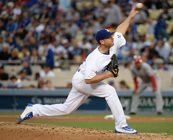 Los Angeles Dodgers Scott Kazmir pitches against the Cincinnati Reds Wednesday, May 25, 2016 at Dodger Stadium in Los Angeles,California. Photo by Jon SooHoo