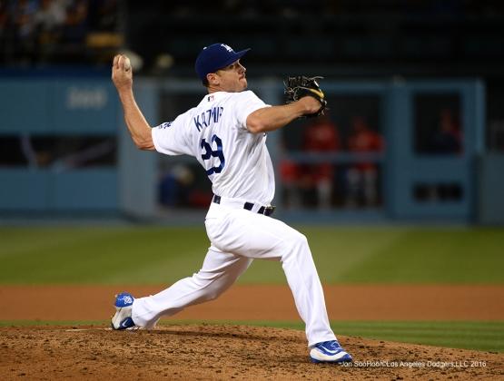 Los Angeles Dodgers Scott Kazmir  against the Cincinnati Reds Wednesday, May 25, 2016 at Dodger Stadium in Los Angeles,California. Photo by Jon SooHoo