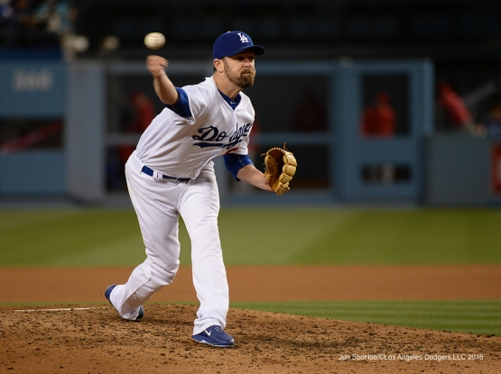 Louis Coleman pitches against the Cincinnati Reds Wednesday, May 25, 2016 at Dodger Stadium in Los Angeles,California. Photo by Jon SooHoo