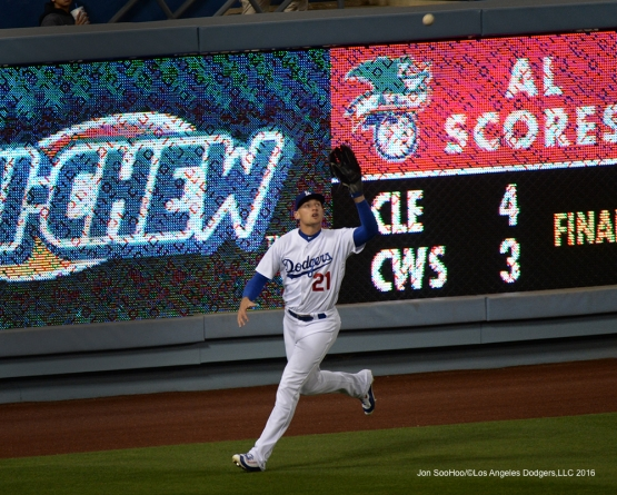Trayce Thompson runs down fly ball during game against the Cincinnati Reds at Dodger Stadium in Los Angeles,California. Photo by Jon SooHoo