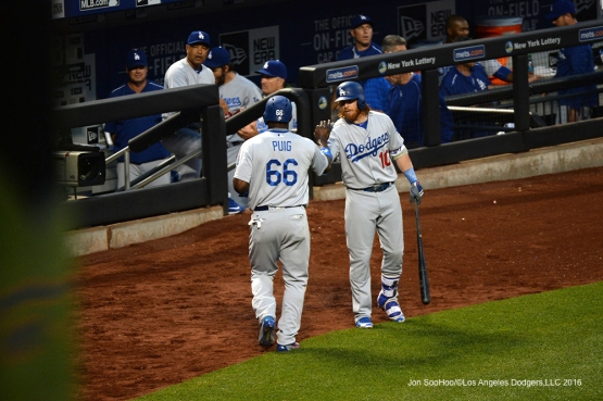 Los Angeles Dodgers Yasiel Puig and Justin Turner during game against the New York Mets Friday, May 27, 2016 at Citi Field in Flushing,New York.