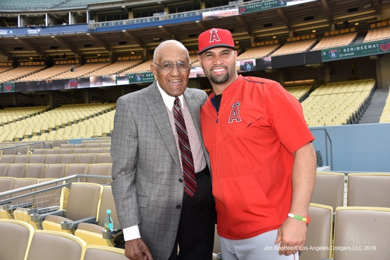 Don Newcombe poses with Albert Pujols prior to game against the Los Angeles Angels of Anaheim Monday, May 16, 2016 at Dodger Stadium in Los Angeles, California.  Jon SooHoo/©Los Angeles Dodgers,LLC 2016