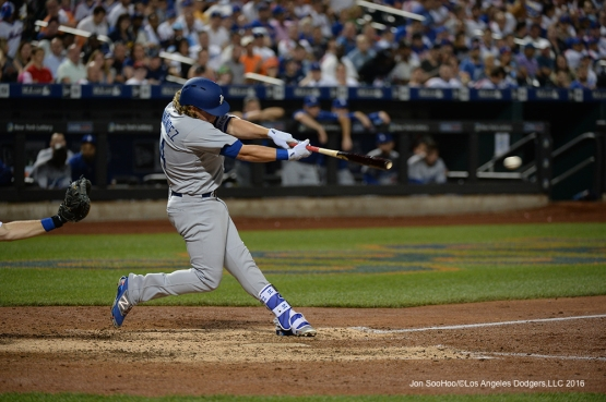 Los Angeles Dodgers Kike Hernandez hits during game against the New York Mets Friday, May 27, 2016 at Citi Field in Flushing,New York.