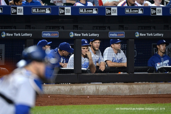 Los Angeles Dodgers in the dugout during game against the New York Mets Friday, May 27, 2016 at Citi Field in Flushing,New York.