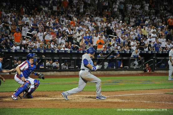 Los Angeles Dodgers Chase Utley scores three on triple in the ninth inning against the New York Mets Friday, May 27, 2016 at Citi Field in Flushing,New York.