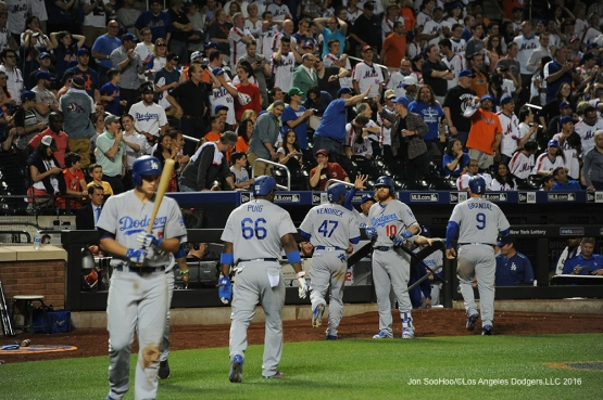 Los Angeles Dodgers score against the New York Mets Friday, May 27, 2016 at Citi Field in Flushing,New York.
