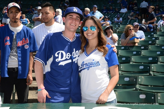 Great Los Angeles Dodger fans pose prior to game vs the Chicago Cubs Monday, May 30,2016 at Wrigley Field in Chicago,Illinois. Photo by Jon SooHoo/©Los Angeles Dodgers,LLC 2016