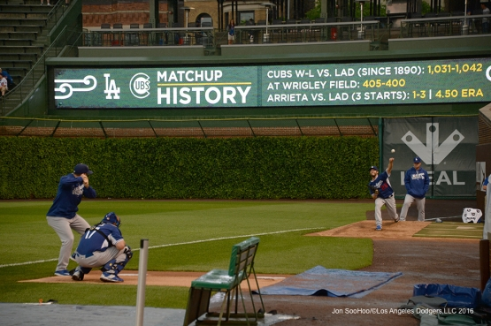 Los Angeles Dodgers Clayton Kershaw gets a session in during rain delay Tuesday, May 31,2016 at Wrigley Field in Chicago,Illinois. Photo by Jon SooHoo/©Los Angeles Dodgers,LLC 2016