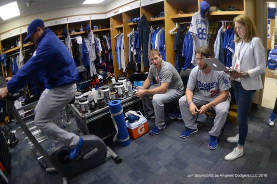 Los Angeles Dodgers in the clubhouse during rain delay Tuesday, May 31,2016 at Wrigley Field in Chicago,Illinois. Photo by Jon SooHoo/©Los Angeles Dodgers,LLC 2016