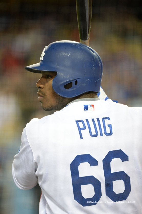 Yasiel Puig gets ready to bat. Jill Weisleder/Dodgers