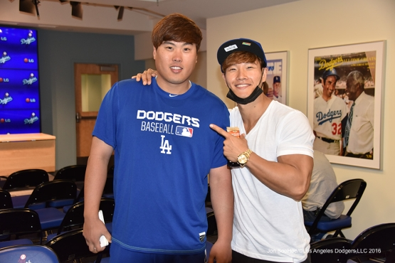 Hyun-jin Ryu poses with countryman Jong Kook Kim  prior to game against the Los Angeles Angels of Anaheim Monday, May 16, 2016 at Dodger Stadium in Los Angeles, California.  Jon SooHoo/©Los Angeles Dodgers,LLC 2016