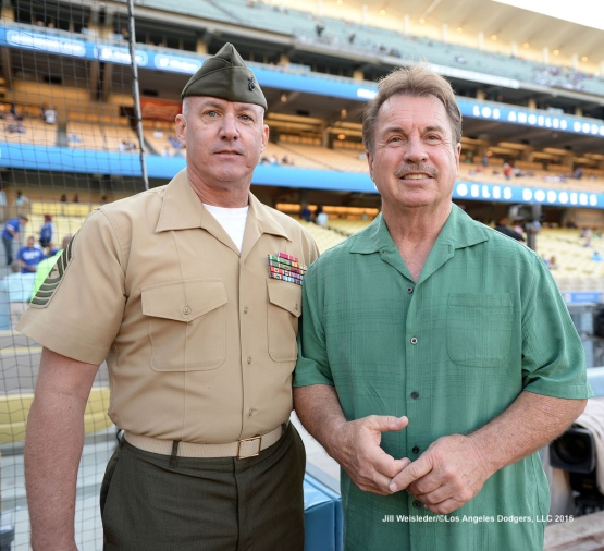 Military Hero of the Game retired U.S. Marine Corps Sergeant Major Paul Hayes poses for a photo with former Dodger great Ron Cey prior to the game. Jill Weisleder/Dodgers