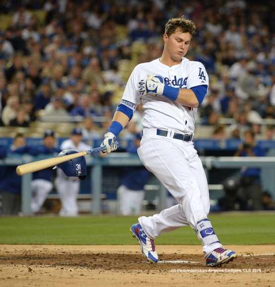 Joc Pederson takes a hard swing at bat. Jill Weisleder/Dodgers