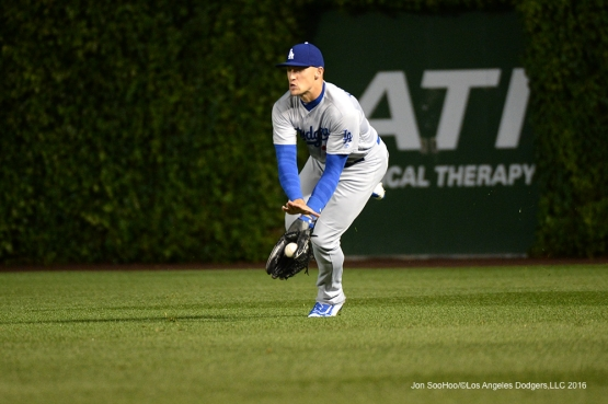 Los Angeles Dodgers Trayce Thompson short hops ball vs the Chicago Cubs Tuesday, May 31,2016 at Wrigley Field in Chicago,Illinois. Photo by Jon SooHoo/©Los Angeles Dodgers,LLC 2016