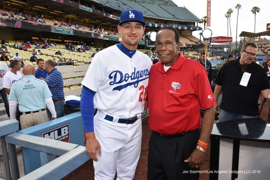 Trayce Thompson poses with Rod Carew prior to game against the Los Angeles Angels of Anaheim Monday, May 16, 2016 at Dodger Stadium in Los Angeles, California.  Jon SooHoo/©Los Angeles Dodgers,LLC 2016