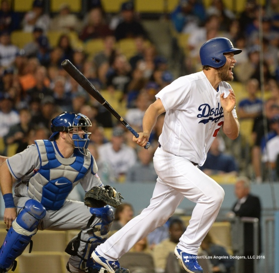 Clayton Kershaw reacts after he takes a swing. Jill Weisleder/Dodgers
