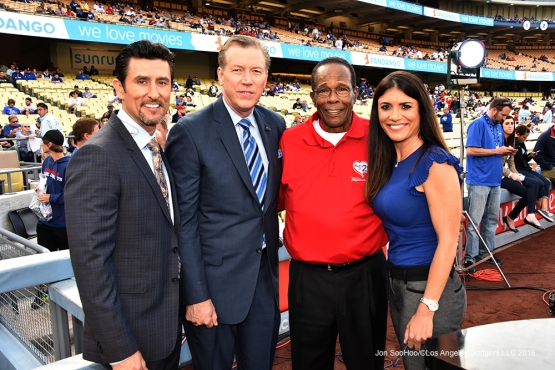 The crew with Rod Carew prior to game against the Los Angeles Angels of Anaheim Monday, May 16, 2016 at Dodger Stadium in Los Angeles, California.  Jon SooHoo/©Los Angeles Dodgers,LLC 2016