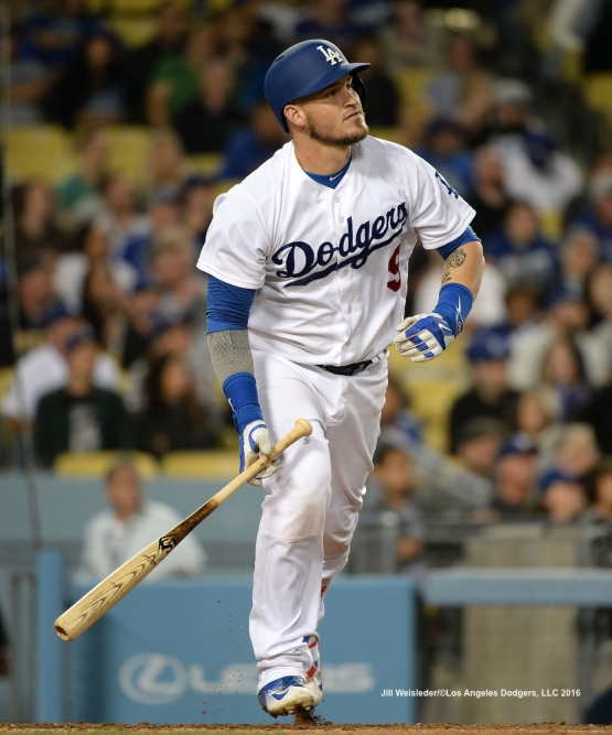 Yasmani Grandal watches his ball take flight. Jill Weisleder/Dodgers