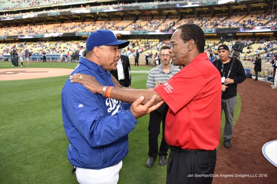 Dave Roberts greets Rod Carew prior to game against the Los Angeles Angels of Anaheim Monday, May 16, 2016 at Dodger Stadium in Los Angeles, California.  Jon SooHoo/©Los Angeles Dodgers,LLC 2016