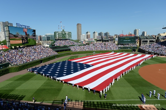 Los Angeles Dodgers and the Chicago Cubs  celebrate Memorial Day Monday, May 30,2016 at Wrigley Field in Chicago,Illinois. Photo by Jon SooHoo/©Los Angeles Dodgers,LLC 2016
