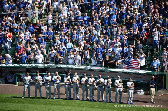 Los Angeles Dodgers line up for anthem before game vs the Chicago Cubs Monday, May 30,2016 at Wrigley Field in Chicago,Illinois. Photo by Jon SooHoo/©Los Angeles Dodgers,LLC 2016