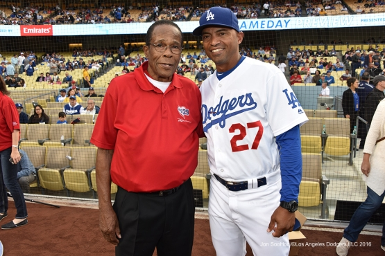 George Lombard poses with Rod Carew prior to game against the Los Angeles Angels of Anaheim Monday, May 16, 2016 at Dodger Stadium in Los Angeles, California.  Jon SooHoo/©Los Angeles Dodgers,LLC 2016