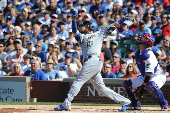 Los Angeles Dodgers Justin Turner gets a hit vs the Chicago Cubs Monday, May 30,2016 at Wrigley Field in Chicago,Illinois. Photo by Jon SooHoo/©Los Angeles Dodgers,LLC 2016