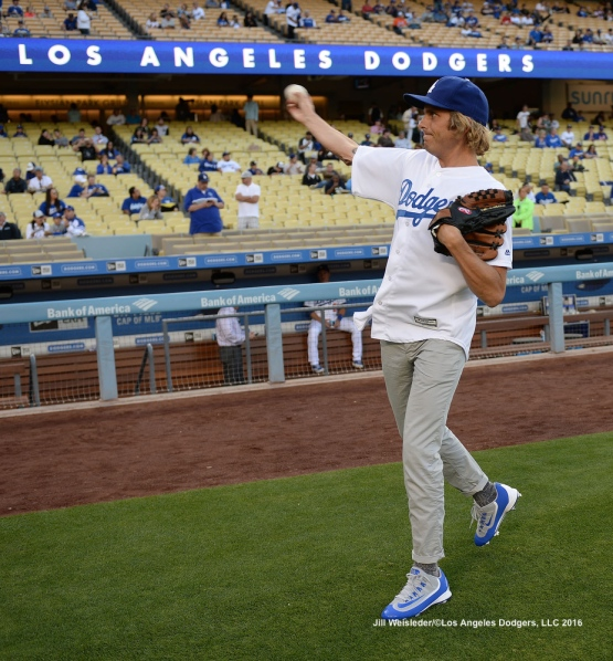 Aaron Bruno, the lead singer of L.A. based band AWOLNATION practices his skills prior to his ceremonial first pitch. Jill Weisleder/Dodgers