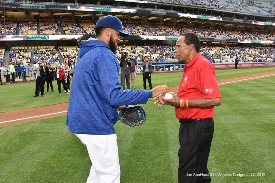 Kenley Jansen greets Rod Carew prior to game against the Los Angeles Angels of Anaheim Monday, May 16, 2016 at Dodger Stadium in Los Angeles, California.  Jon SooHoo/©Los Angeles Dodgers,LLC 2016