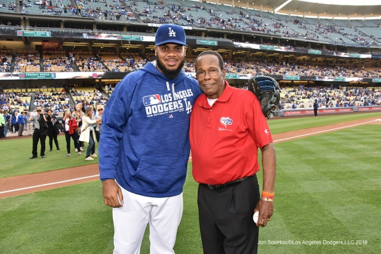 Kenley Jansen poses with Rod Carew prior to game against the Los Angeles Angels of Anaheim Monday, May 16, 2016 at Dodger Stadium in Los Angeles, California.  Jon SooHoo/©Los Angeles Dodgers,LLC 2016