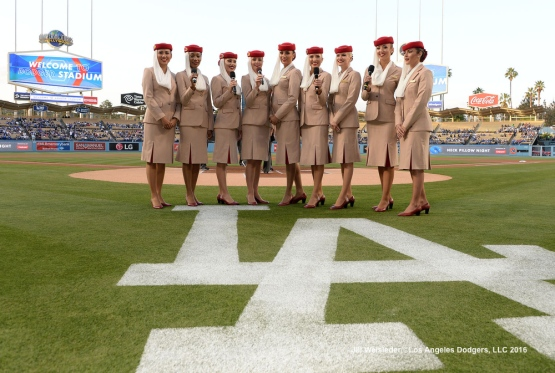 "Emirates Airline flight attendants gets ready to announce ""It's Time for Dodger Baseball"" Jill Weisleder/Dodgers"
