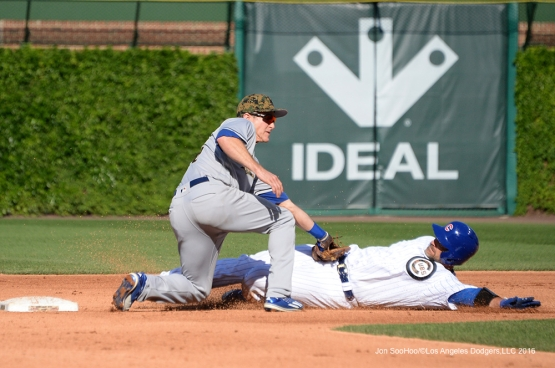 Los Angeles Dodgers Chase Utley with the tag vs the Chicago Cubs Monday, May 30,2016 at Wrigley Field in Chicago,Illinois. Photo by Jon SooHoo/©Los Angeles Dodgers,LLC 2016