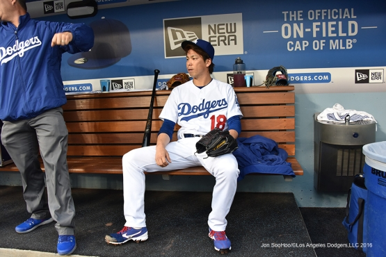 Los Angeles Dodgers Kenta Maeda in the dugout prior to game against the Los Angeles Angels of Anaheim Monday, May 16, 2016 at Dodger Stadium in Los Angeles, California.  Jon SooHoo/©Los Angeles Dodgers,LLC 2016
