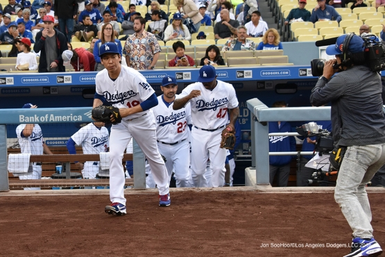 Los Angeles Dodgers take the field against the Los Angeles Angels of Anaheim Monday, May 16, 2016 at Dodger Stadium in Los Angeles, California.  Jon SooHoo/©Los Angeles Dodgers,LLC 2016