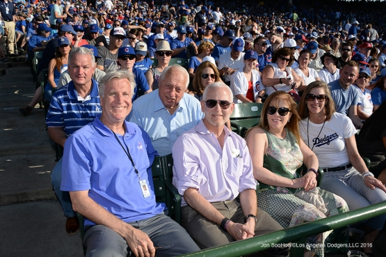 The Walter family and guests pose during the Los Angeles Dodgers vs the Chicago Cubs Monday, May 30,2016 at Wrigley Field in Chicago,Illinois. Photo by Jon SooHoo/©Los Angeles Dodgers,LLC 2016