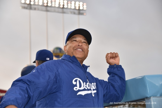 Los Angeles Dodgers Dave Roberts waves to Tommy Lasorda prior to game against the Los Angeles Angels of Anaheim Monday, May 16, 2016 at Dodger Stadium in Los Angeles, California.  Jon SooHoo/©Los Angeles Dodgers,LLC 2016