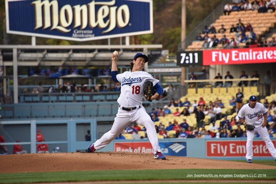 Los Angeles Dodgers Kenta Maeda pitches against the Los Angeles Angels of Anaheim Monday, May 16, 2016 at Dodger Stadium in Los Angeles, California.  Jon SooHoo/©Los Angeles Dodgers,LLC 2016