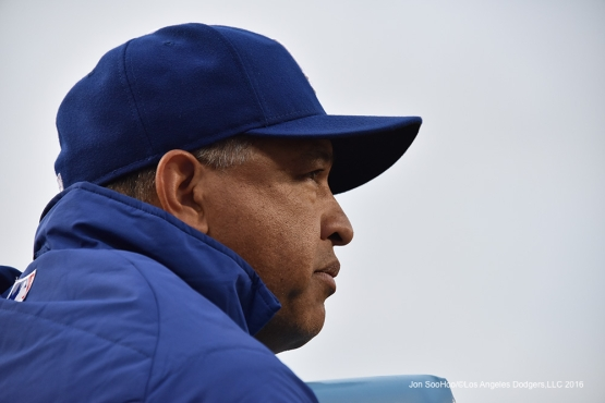 Dave Roberts watches the action during game against the Los Angeles Angels of Anaheim Monday, May 16, 2016 at Dodger Stadium in Los Angeles, California.  Jon SooHoo/©Los Angeles Dodgers,LLC 2016