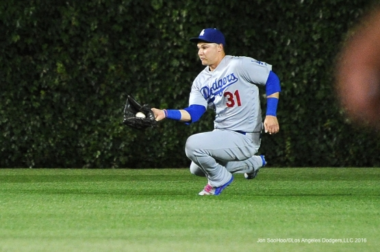 Los Angeles Dodgers Joc Pederson makes a play vs the Chicago Cubs Tuesday, May 31,2016 at Wrigley Field in Chicago,Illinois. Photo by Jon SooHoo/©Los Angeles Dodgers,LLC 2016