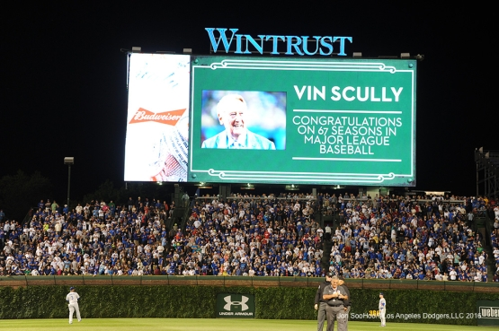 Vin Scully honored by the Chicago Cubs Tuesday, May 31,2016 at Wrigley Field in Chicago,Illinois. Photo by Jon SooHoo/©Los Angeles Dodgers,LLC 2016