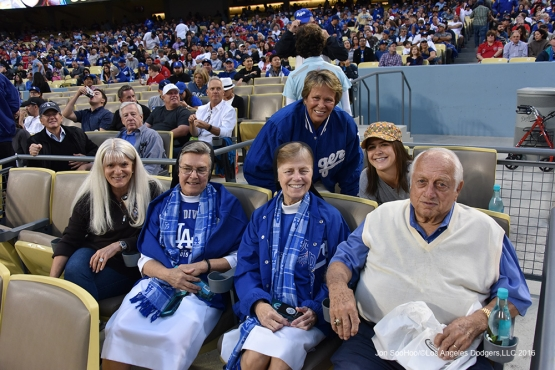 Tommy Lasorda and guests pose prior to game against the Los Angeles Angels of Anaheim Monday, May 16, 2016 at Dodger Stadium in Los Angeles, California.  Jon SooHoo/©Los Angeles Dodgers,LLC 2016