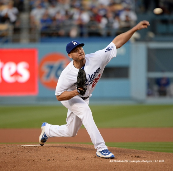 Starting pitcher Scott Kazmir delivers a pitch on the mound. Jill Weisleder/Dodgers
