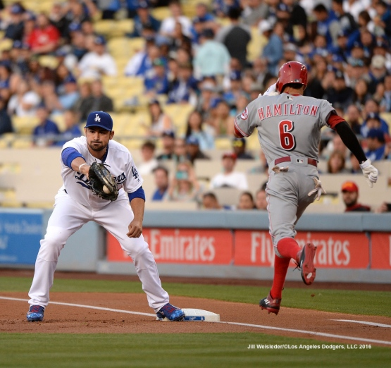 Adrian Gonzalez makes the catch at first base to get out Billy Hamilton of the Cincinnati Reds. Jill Weisleder/Dodgers