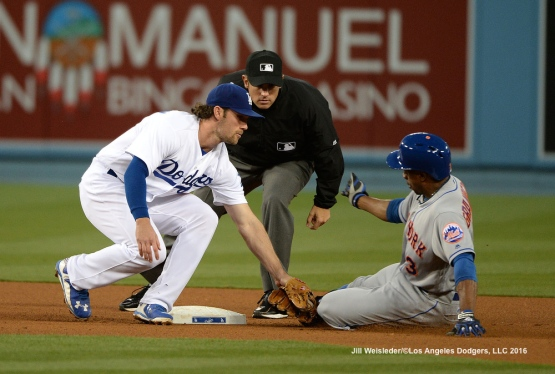 Charlie Culberson applies the tag to Curtis Granderson at second base. Jill Weisleder/Dodgers