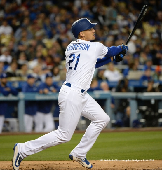 Trayce Thompson watches his ball take flight for a home run . Jill Weisleder/Dodgers