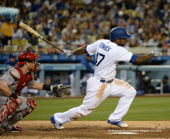 Howie Kendrick at bat. Jill Weisleder/Dodgers