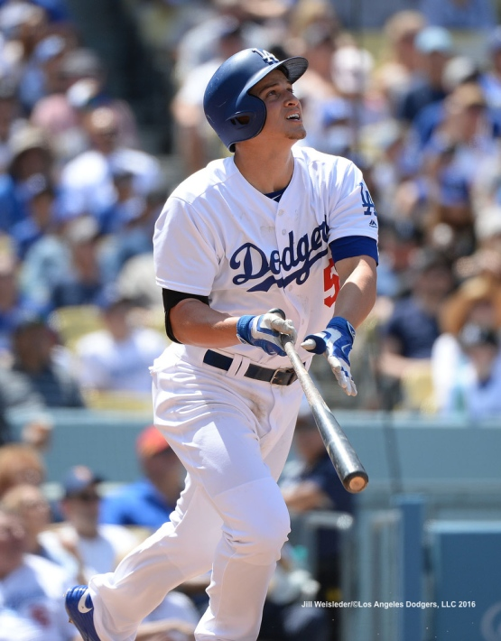 Corey Seager watches his ball take flight. Jill Weisleder/Dodgers